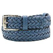 Аксессуары handmade. Livemaster - original item Blue leather belt. Handmade.