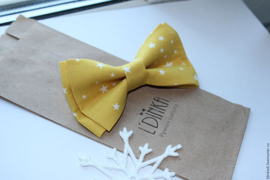 """Галстуки, бабочки ручной работы. Ярмарка Мастеров - ручная работа. Купить Галстук-бабочка """"Звезды на желтом"""", 11 или 9см. Handmade."""