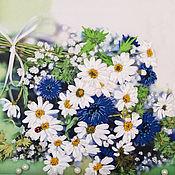 Для дома и интерьера handmade. Livemaster - original item Clock embroidered with ribbons Bouquet of Daisies. Handmade.
