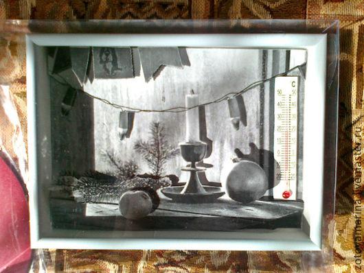 Новый год 2017 ручной работы. Ярмарка Мастеров - ручная работа. Купить Объёмная картинка из бумаги в глубокой рамке под стеклом С НОВЫМ ГОДОМ. Handmade.