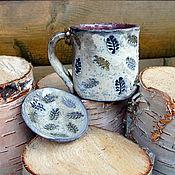 Посуда ручной работы. Ярмарка Мастеров - ручная работа Чайная пара керамическая раку. Handmade.