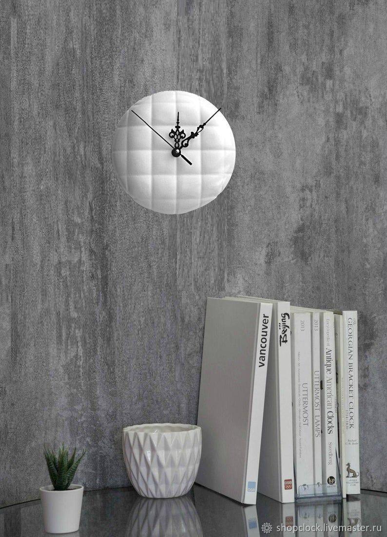 Настенные часы из гипса, бетона Белые Минимализм, Часы классические, Новосибирск,  Фото №1