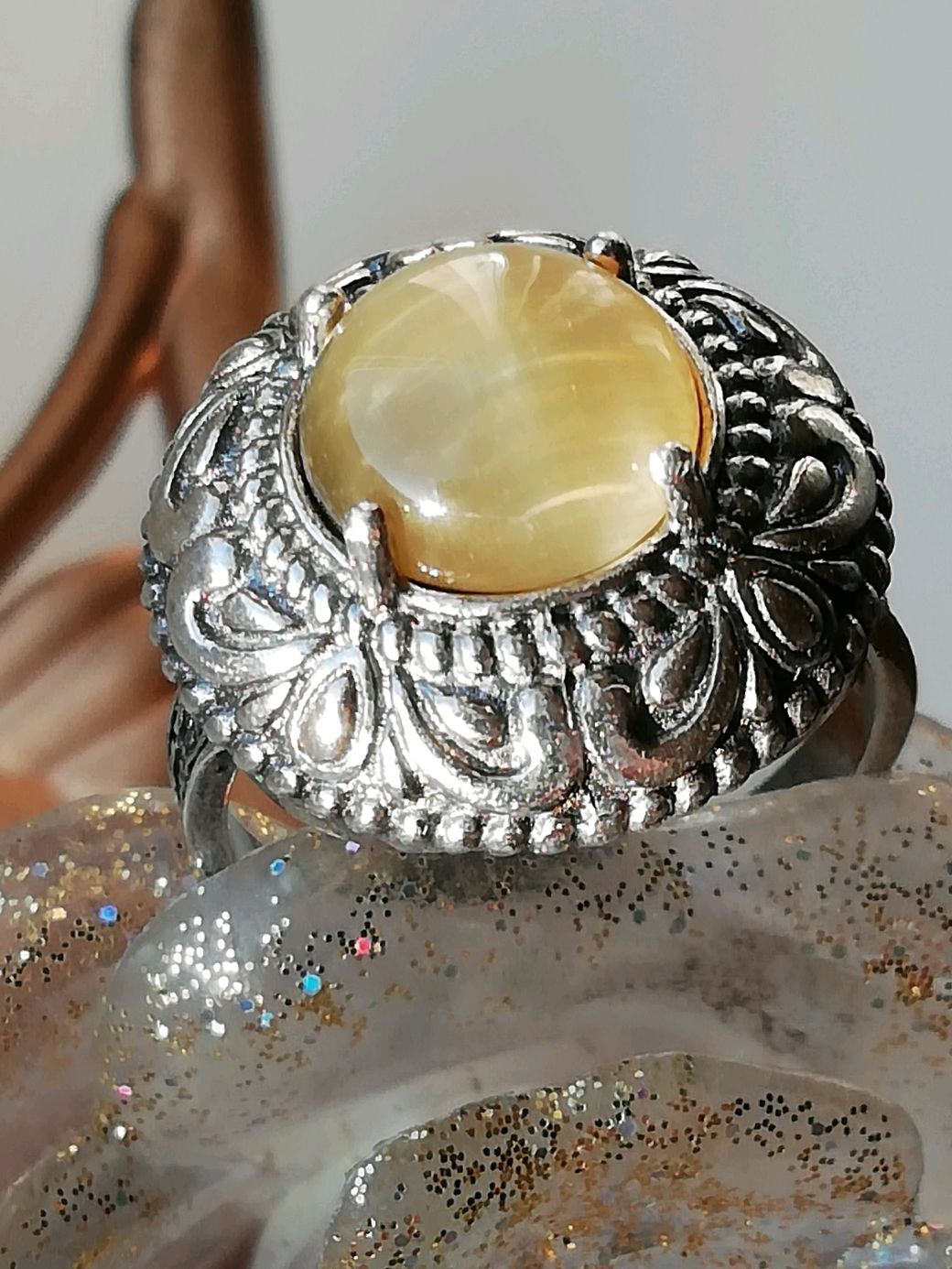 Ring with natural tiger eye ' LIME COLOR', Ring, Moscow,  Фото №1