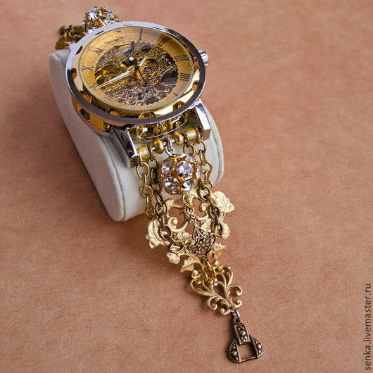 """Часы ручной работы. Ярмарка Мастеров - ручная работа. Купить Часы-скелетоны """"Золотой песок заказ для Натальи"""" наручные механические. Handmade."""