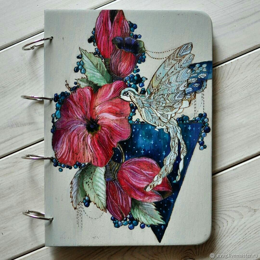 """Notepad wood cover A4 """"Hummingbird"""", Sketchbooks, Moscow,  Фото №1"""