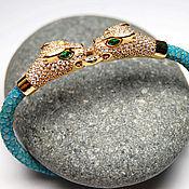 """Украшения ручной работы. Ярмарка Мастеров - ручная работа """"Tiger blue"""" уникальный браслет на коже ската с тиграми из серебра 925. Handmade."""