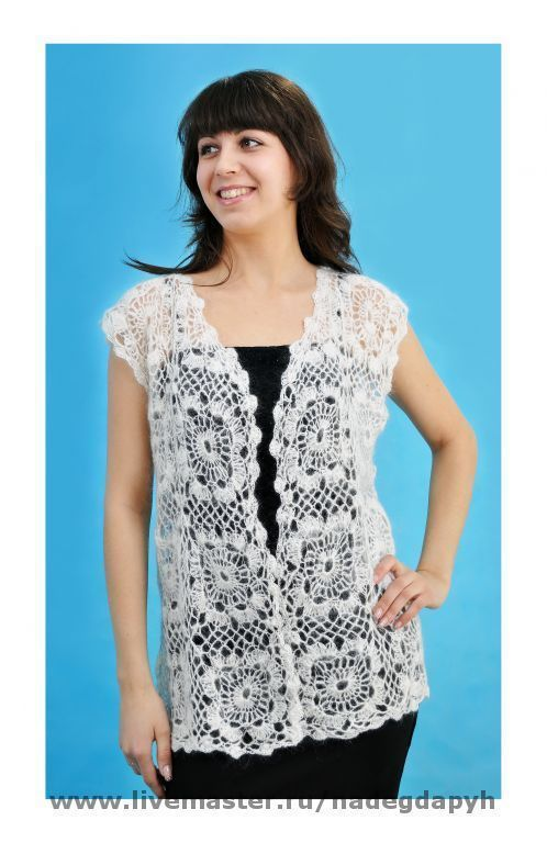 Vests handmade. Livemaster - handmade. Buy 19 - the vest is downy,white ,crocheted, clothing.Openwork vest