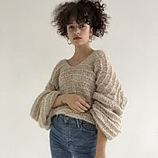 Свитеры ручной работы. Ярмарка Мастеров - ручная работа Вязаный свитер туника с капюшоном в стиле бохо. Handmade.