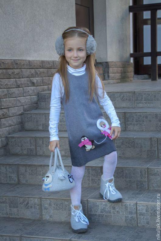 Одежда для девочек, ручной работы. Ярмарка Мастеров - ручная работа. Купить Платье валяное  Полюс. Handmade. Серый, ручная работа