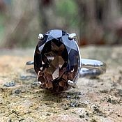 Украшения handmade. Livemaster - original item Large silver ring with smoky quartz rauchtopaz,17,5. Handmade.