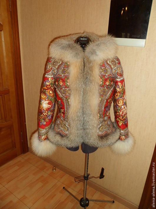 """Верхняя одежда ручной работы. Ярмарка Мастеров - ручная работа. Купить Зимнее пальто """"Рябинка"""".. Handmade. Цветочный, одежда из платков"""