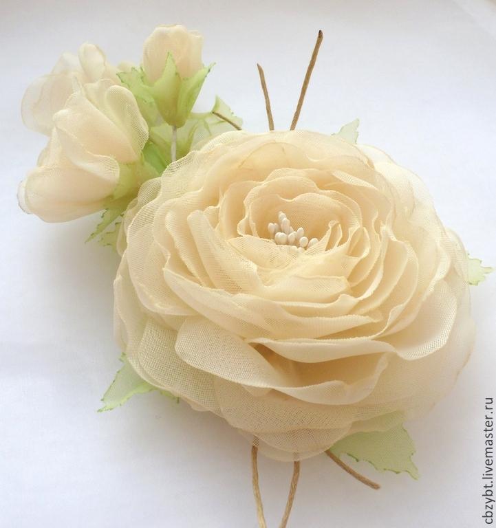 Украшение в прическу. Брошь. Розы из ткани цвета экрю, Диадемы, Юрга,  Фото №1