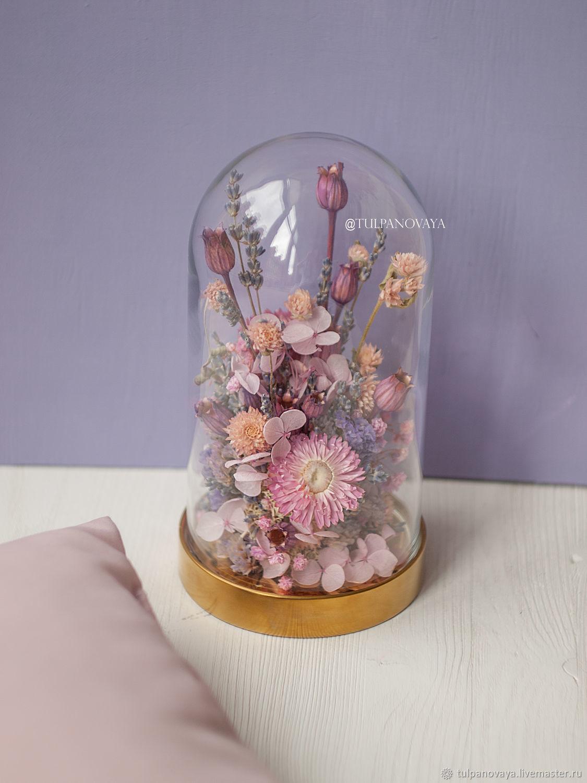 Композиции: Стеклянный клош с сухоцветами высота 19 см, Цветы сухие и стабилизированные, Санкт-Петербург,  Фото №1