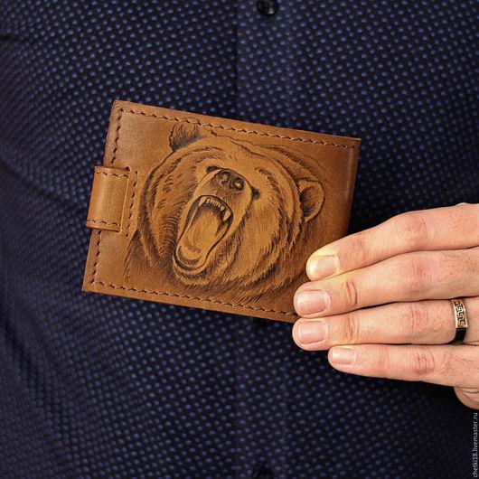 """Подарки для мужчин, ручной работы. Ярмарка Мастеров - ручная работа. Купить Портмоне """"Оскал медведя"""". Handmade. Коричневый"""