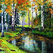 Картины и панно ручной работы. Ярмарка Мастеров - ручная работа Осень в лесу. Handmade.