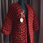 Одежда ручной работы. Ярмарка Мастеров - ручная работа Кардиган - МАРСАЛА из самой толстой пряжи в мире. Handmade.