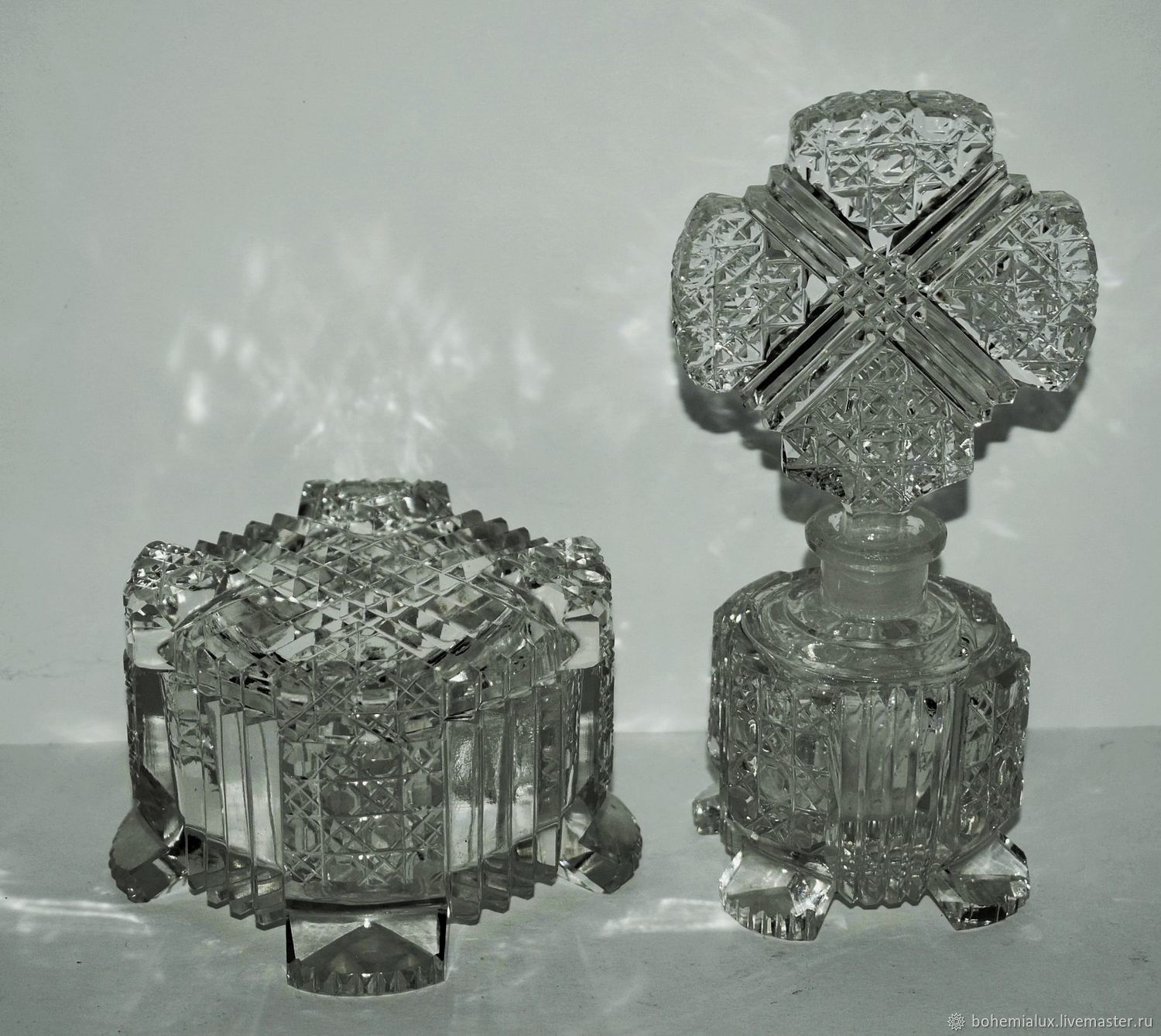 Vintage toilet set crystal Bohemia 1930-1940, Vintage interior, Prague,  Фото №1