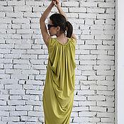 Одежда ручной работы. Ярмарка Мастеров - ручная работа Оливковое платье макси. Handmade.
