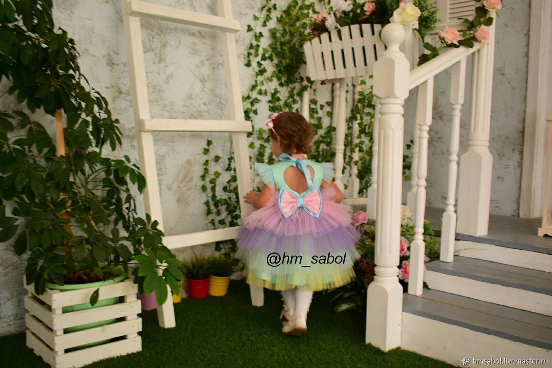 """Платье """"Золушка"""" в радужном цвете Единорог"""