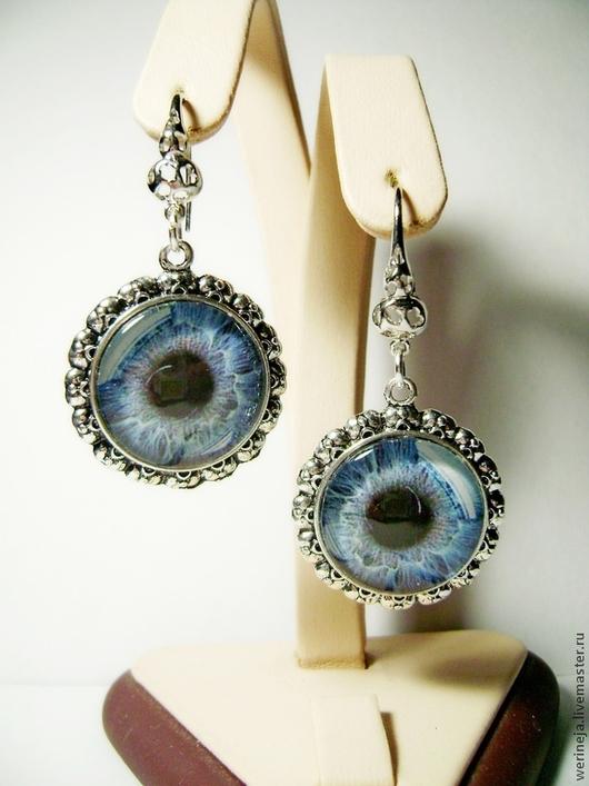 """Серьги ручной работы. Ярмарка Мастеров - ручная работа. Купить Серьги """"Глаз""""-голубой. Handmade. Синий, серьги длинные"""