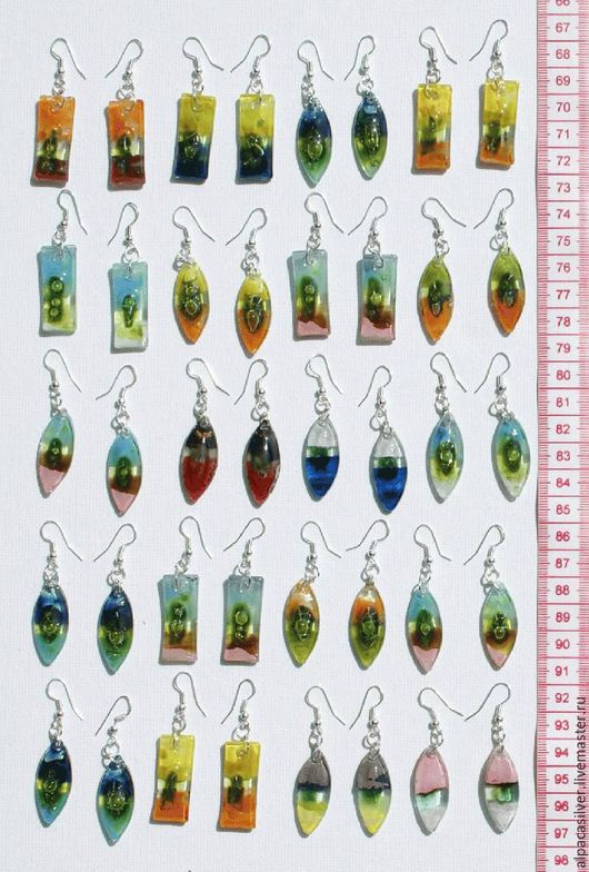 Серьги ручной работы. Ярмарка Мастеров - ручная работа. Купить Серёжки кристальные из цветного стекла. Handmade. Комбинированный, сережки, серьги