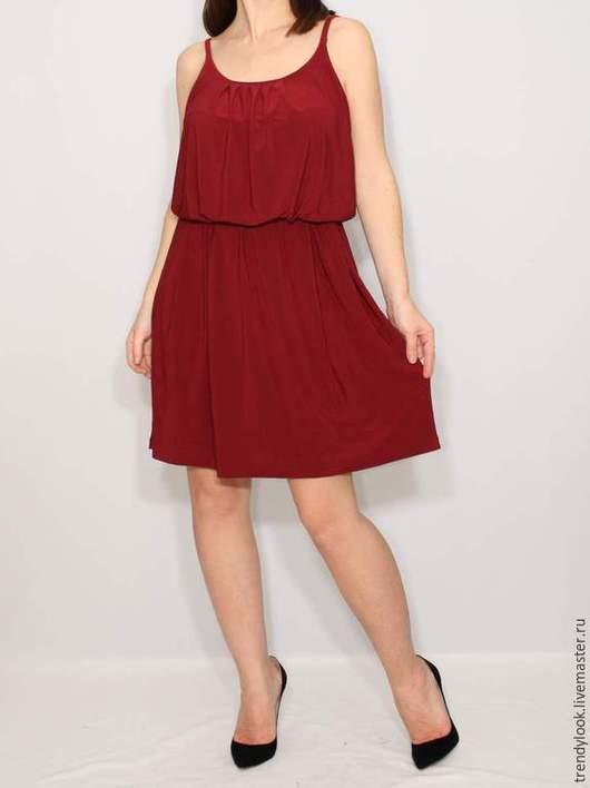 Платья ручной работы. Ярмарка Мастеров - ручная работа. Купить Бордовое платье летнее, короткий сарафан на бретельках. Handmade. Бордовый