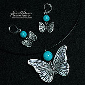 Украшения handmade. Livemaster - original item set of polymer clay butterfly with turquoise (130). Handmade.