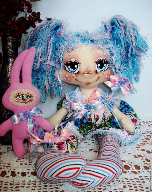 """Человечки ручной работы. Ярмарка Мастеров - ручная работа. Купить Текстильная кукла """"Милая Зайка"""". Интерьерная кукла.. Handmade. Голубой"""