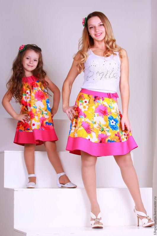 Одежда для девочек, ручной работы. Ярмарка Мастеров - ручная работа. Купить Сарафан для дочки и юбка для мамы. Handmade. Разноцветный