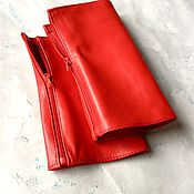 Аксессуары handmade. Livemaster - original item Red leather fingerless gloves short zipper Spring fashion 2020. Handmade.