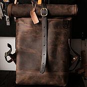Сумки и аксессуары handmade. Livemaster - original item Men`s leather backpack ROLLTOP (coffee) rolltop size M. Handmade.
