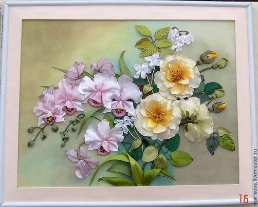 """Картины цветов ручной работы. Ярмарка Мастеров - ручная работа. Купить Картина лентами """"Любителям орхидей"""". Handmade. картина в прихожую"""