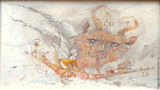 """Фантазийные сюжеты ручной работы. Ярмарка Мастеров - ручная работа. Купить """"Прогулки в облаках"""". Handmade. Бежевый, ангел снов, путешествие"""