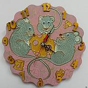 """Для дома и интерьера ручной работы. Ярмарка Мастеров - ручная работа Часы """"Мыши и сыр"""". Handmade."""