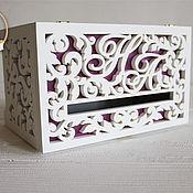 Свадебный салон handmade. Livemaster - original item Wooden Wedding Treasury (Family Bank) purple. Handmade.