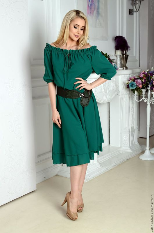 платье летнее, платье с открытыми плечами