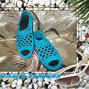 Обувь ручной работы. Ярмарка Мастеров - ручная работа Летние туфельки с открытым носиком.Softness(Нежность).бирюзово-голубой. Handmade.
