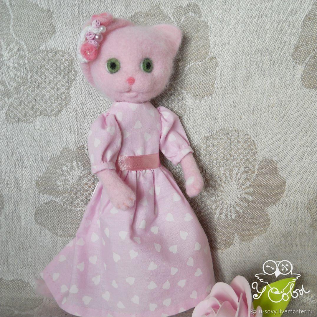 Розовая кошечка. Войлочная игрушка, Войлочная игрушка, Псков,  Фото №1