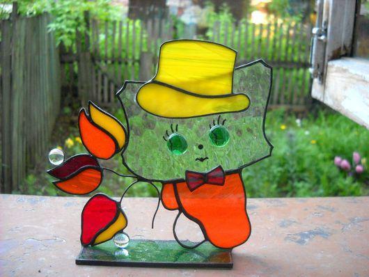 Персональные подарки ручной работы. Ярмарка Мастеров - ручная работа. Купить Стеклянная «открытка» Котенок с тюльпанами. Handmade. Оранжевый, желтый