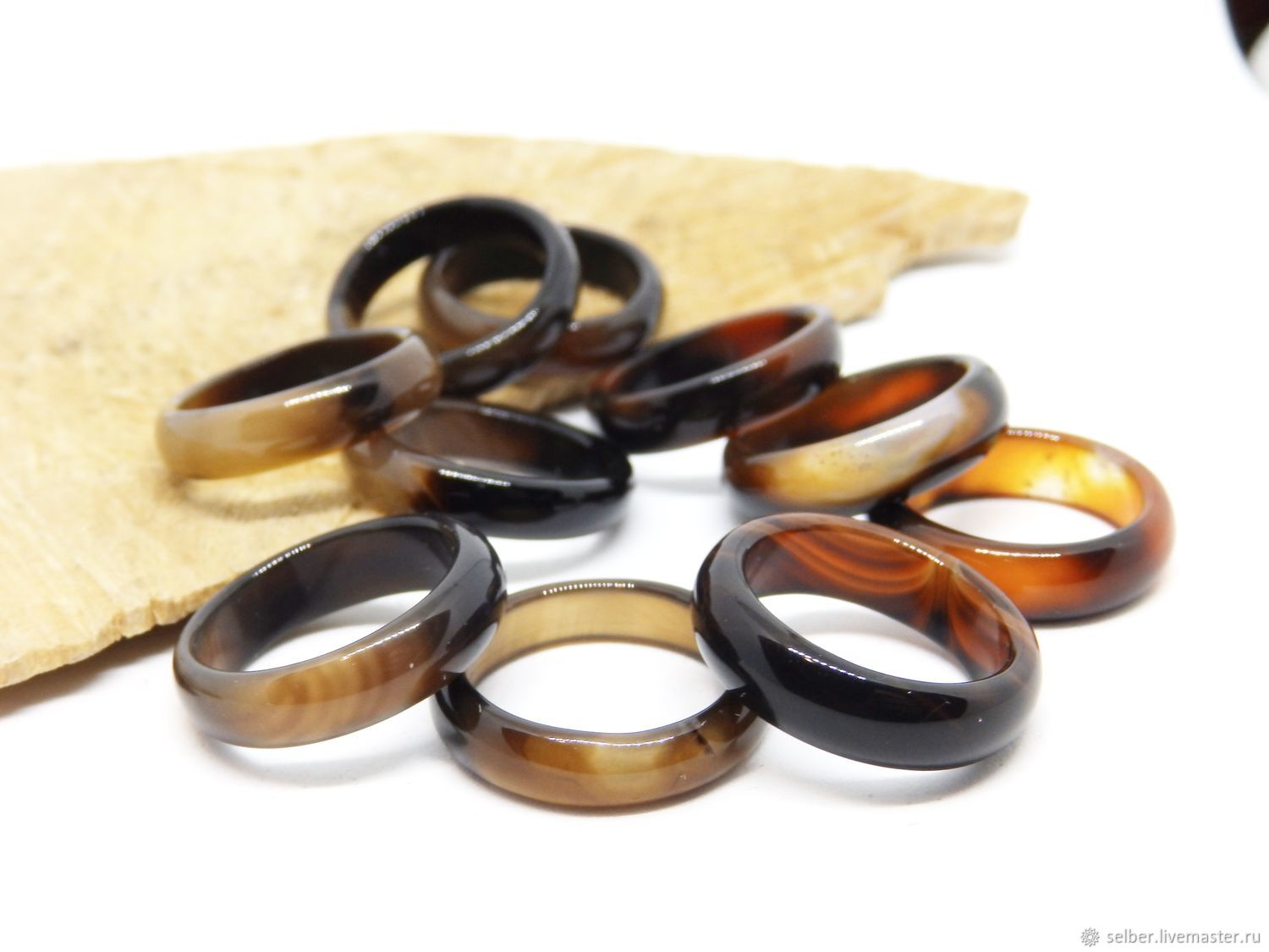 Ring of agate Coffee with milk 17 size, Rings, Gatchina,  Фото №1