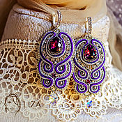 Украшения handmade. Livemaster - original item Soutache earrings Adele. bead earrings. Purple earrings.. Handmade.