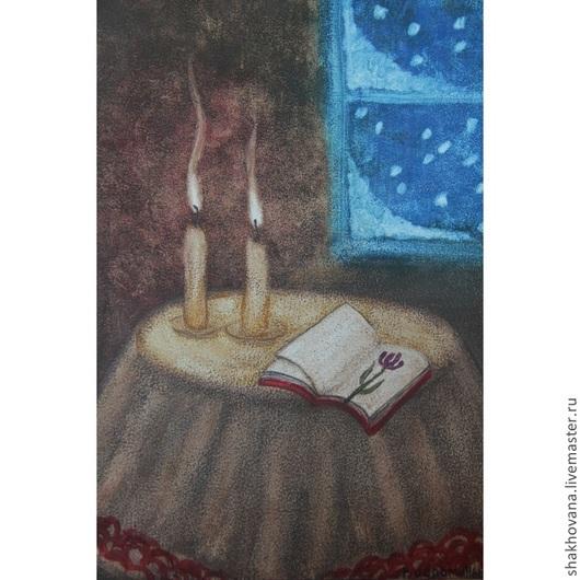 Натюрморт ручной работы. Ярмарка Мастеров - ручная работа. Купить Воспоминания. Handmade. Холст на картоне, масляные краски, Снег, свеча