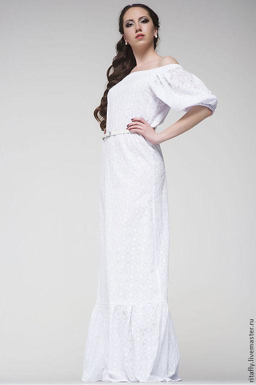a0b7e02c40a 199  длинное платье с открытыми плечами и воланом понизу – купить в ...