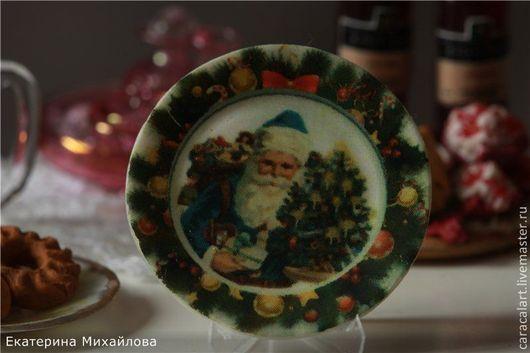 """Миниатюра ручной работы. Ярмарка Мастеров - ручная работа. Купить Миниатюрная тарелочка """"Рождество"""". Handmade. Белый, фарфор, фарфор"""