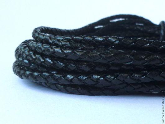 Для украшений ручной работы. Ярмарка Мастеров - ручная работа. Купить Плетеный кожаный шнур 4мм. Handmade. Черный