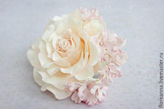 """Заколки ручной работы. Ярмарка Мастеров - ручная работа. Купить Зажим """"Воздушная роза"""". Handmade. Зажим для волос, роза из фоамирана"""