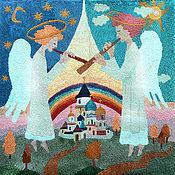 Картины и панно ручной работы. Ярмарка Мастеров - ручная работа Гобелен.Ангелы.. Handmade.