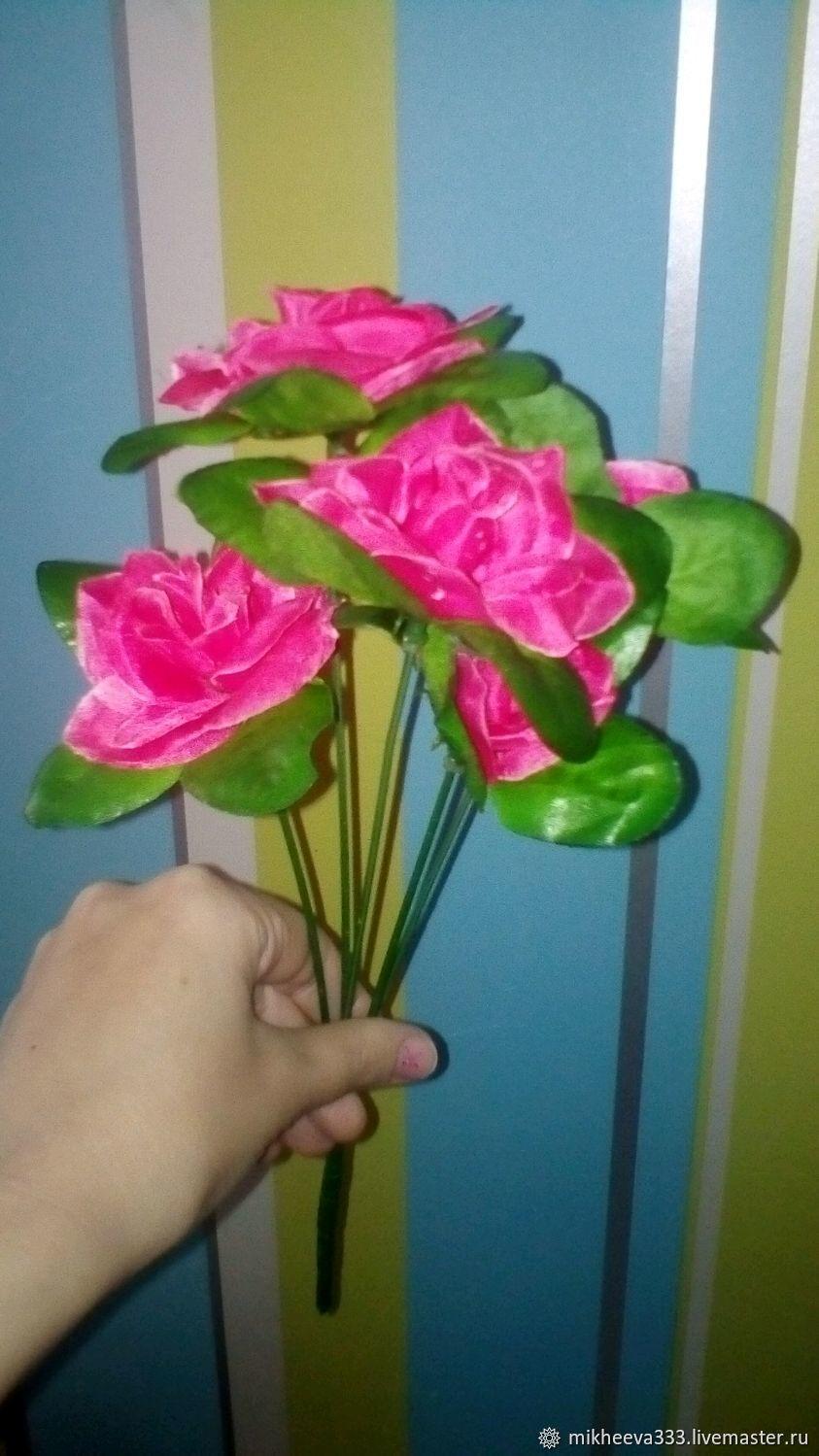 Цветы 30 см розы с розеткой искусственные, Цветы, Москва, Фото №1