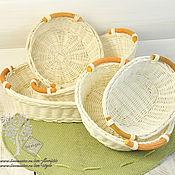 Корзины ручной работы. Ярмарка Мастеров - ручная работа Чаши белые из ротанга (5 видов). Handmade.