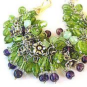 """Браслет из бусин ручной работы. Ярмарка Мастеров - ручная работа Браслет """"Зелен виноград"""": серебро, драгоценные камни. Handmade."""